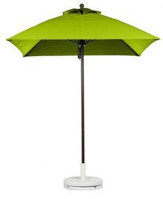 Fiberglass Rib Square Market Umbrella in Pistachio with Concrete Base
