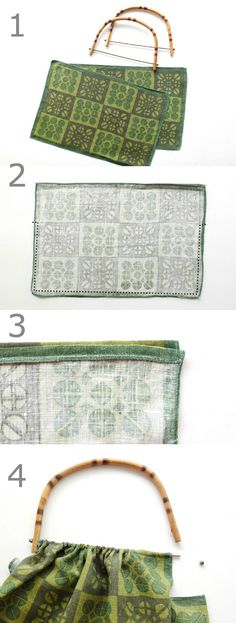 DIY steps to make a bag from placemats