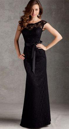 Balck Lace 2015 Simple Evening Dress, Elegant Mermaid Mother Dress
