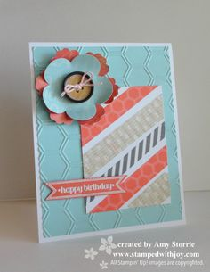 handmade birthday card ... panel wrapped in strips of washi tape ... punched flower ... honeycomb embossing folder texture ... like the look of soft blue with dusty orange and kraft ... Stampin' Up!