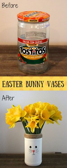 Before and After Easter Bunny Vases. An easy Easter craft for kids to teach them how to recycle and upcycle. Also cute easter decor.
