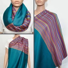 Teal Infinity Scarf with colorful striped by NyUrbanAccessories