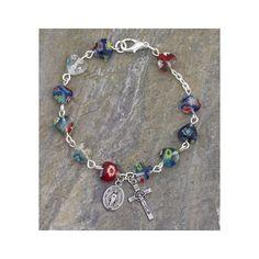 Murano Glass Heart-Shaped Rosary Bracelet, 7MM