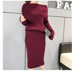 Cashmere Sweater Womens 2 Piece Skirt Suits outfits Costume