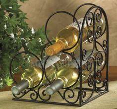 Village Scroll Book End Wine Rack by Park Designs, Iron for 3 Bottles, Nice Gift
