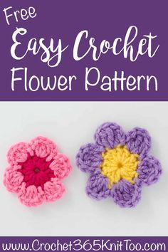 This easy crochet flower is simple, quick and beautiful! flowers easy Easy Crochet Flower Pattern - Crochet 365 Knit Too Crochet Butterfly Free Pattern, Crochet Flower Tutorial, Easy Crochet Patterns, Crochet Poppy, Crochet Sunflower, Crochet Flowers, Easy Crochet Flower, Crochet Stars, Crochet Birds