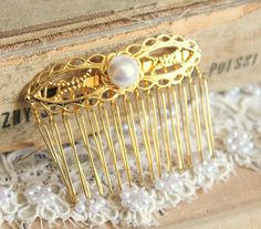 Gold lace and pearls hair comb Bridal hair comb  by iloniti, $29.00