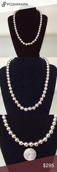 """NWOT 18"""" 10mm Sterling Silver Bead Necklace 10mm Sterling Silver Bead Necklace strung on Sterling Silver Chain.  Sterling Clasp Closure. Presented in Black Velvet Jewelry Case.  Earrings also Available. See Listing. Jewelry Necklaces"""