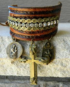 ☮ American Hippie Bohemian Boho Style .. Jewelry - Leather Gypsy Cuff