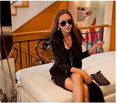 Casual Scoop Neck Long Sleeve Solid Color Asymmetrical Hem Dress For Women (BLACK) China Wholesale - Sammydress.com