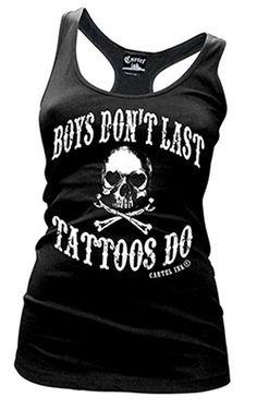 Boys Don't Last, Tattoos Do Racerback Tank by Cartel Ink