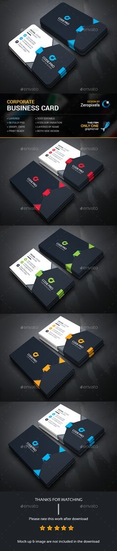 Buy Corporate Business Card by zeropixels on GraphicRiver. FEATURES: Easy Customizable and Editable Business card in with bleed CMYK Color Design in 300 DPI Resolut. Professional Business Card Design, Modern Business Cards, Corporate Business, Creative Business, Employees Card, Id Card Design, Business Card Maker, Visiting Card Design, Presentation Cards