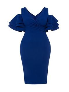 Plus Size Royal Blus Hole Shoulder Ruffle Bodycon Dress>>SizeEricdress Royal Blue V-Neck Ruffles Backless Patchwork Bodycon DressBig Discount for Plus Size Clothing Promotion SalesCheap Women Dresses, Buy Fashion Women Dresses Online for Sale Short African Dresses, Latest African Fashion Dresses, African Print Dresses, Women's Fashion Dresses, Dress Outfits, Mode Glamour, Lace Dress Styles, Kitenge, Classy Dress