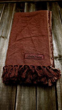 "TRIBEWOOD's LINEN BEACH BLANKET ""LINUM"" Chocolate"