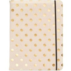 kate spade new york Metallic Dot Notepad Folio ($40) ❤ liked on Polyvore featuring home, home decor, stationery and linen and gold dot