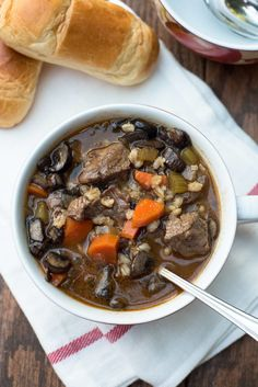 """<p>Let this hearty soup loaded with tender chunks of beef, lots of veggies, and barley simmer in your slow cooker all day and come home to a comforting weeknight dinner.</p> <p>Get the recipe <a href=""""http://www.fromvalerieskitchen.com/2015/10/slow-cooker-vegetable-beef-barley-soup/"""" target=""""_blank"""">here</a>!</p>"""