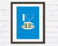 Tea Mid Century Art Poster I love Bohus Bersa Tea by myretronest, $25.00