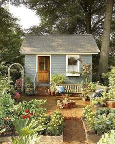 Lovely and Cute Garden Shed Design ideas for Backyard Part 40 ; garden shed ideas; garden shed organization; garden shed interiors; garden shed plans; garden shed diy; garden shed ideas exterior; garden shed colours; garden shed design Cottage Garden Sheds, Garden Shed Diy, Cottage Garden Design, Diy Shed, Cottage House, Garden Gates, Small Cottage Garden Ideas, Cottage Patio, Garden Farm