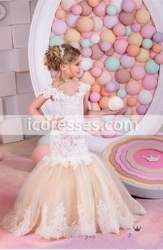 Pretty Champagne Lace Flower Girls Dresses Mermaid Off Shoulder Ruffles Puffy Tulle Capped Sleeves First Communion Pageant Gowns for Kids