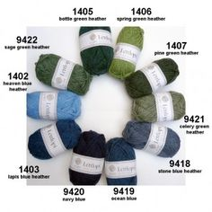 Léttlopi from Ístex: new wool, unpsun, Aran weight has 49 Ístex shades but also 9 extra shades (bright colors and 1 tweed) Hand Knitting, Knitting Patterns, Icelandic Sweaters, Knit Sweaters, Shade Card, Heather Green, Spring Green, Green Sweater, Pink Purple