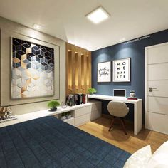 24 Ideas Home Office Guest Room Layout Bedrooms For 2019 Home Office Design, Home Office Decor, Home Interior Design, Lobby Interior, Teenage Room, Design Room, House Design, Home Bedroom, Bedrooms