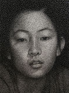 Portrait made with a single sewing thread wrapped through nails by Kumi Yamashita via Colossal