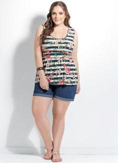 Blusa Peplum (Floral e Listrada) Plus Size