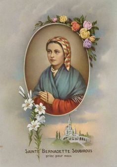 Vintage Lourdes. Ste Bernadette, St Bernadette Of Lourdes, St Bernadette Soubirous, Religious Images, Religious Icons, Religious Art, Catholic Art, Catholic Saints, La Salette