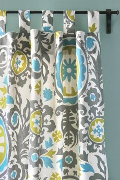 Doris likes this style for the bottom curtains (the hanging tabs)