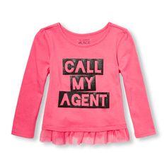 Toddler Girls Long Sleeve Embellished Graphic Mesh Ruffle Hem Top