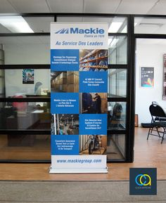 "Roll-up banner stand ""Luxury"" 33.5-inch designed and printed for Mackie Group Inc to promote motorcycle storage service. Supported by telescopic pole, the visual can be raised from 63"" to 87"". Comes with padded carry bag for easy transportation. Price: $300 (including structure and printed banner). Banner printing for replacement is available on demand."