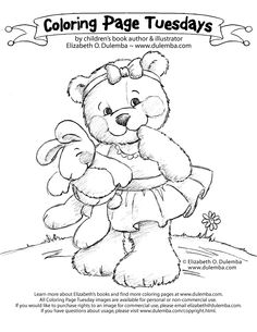 Cute Baby Bunny Coloring Pages | Coloring Page Tuesday - Cutie Bear