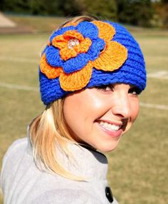 Royal Blue and Orange Head Wrap - Women's College Game Day Dresses, Clothing, Shoes, Jewelry, Hats, Stadium Stompers, Handbags, Accessories and More!