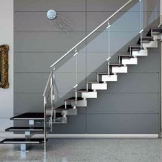 Elegant Stairs Deck The Halls In 2019 Staircase Railing Steel Stair Railing, Staircase Railing Design, Modern Stair Railing, Balcony Railing Design, Home Stairs Design, Duplex House Design, Modern Stairs, House Front Design, Modern Balcony
