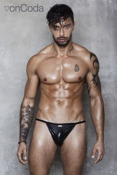 AlphaMaleUndies  - vonCoda DIRTY HERO Black Leather Brazilian Bikini, €25.00 (http://www.alphamaleundies.com/voncoda-dirty-hero-black-leather-brazilian-bikini/)