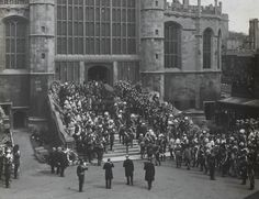 Funeral procession of Queen Victoria, who was conveyed from Osborne to Portsmouth on Friday, 1 Feb 1901, & on the following day was conveyed from Portsmouth to London & from London to Windsor into St George's Chapel, where a Funeral Service was held conducted by The Archbishop of Canterbury, The Bishop of Winchester & The Dean of Windsor.
