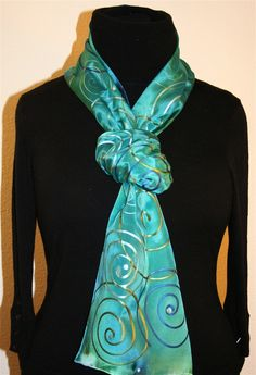 Turquoise Hand Painted Silk Scarf with Spirals - photo 1 Headband Wrap, Fabric Painting, Paint Fabric, Silk Art, Silk Shawl, Silk Material, Scarf Knots, Meet The Artist, World Of Color