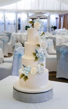 Sugar flower wedding cake set up in marquee. Sugar hydrangeas and roses on wedding cake. Blue sugar hydrangea.