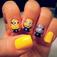 let's quickly talk about our today's post which is dedicated to minions again, scroll down to get the glare at awesome minion nail art designs, ideas, trends & stickers of Dot Nail Designs, Heart Nail Designs, Purple Nail Designs, Nail Designs Pictures, Best Nail Art Designs, Nails Pictures, Cute Nail Art, Cute Acrylic Nails, Cute Nails