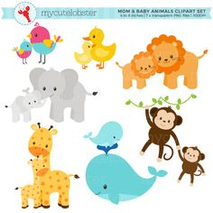 This clipart set includes 7 images which are illustrations of mom and baby animals. The images are approximately 4 to 8 inches in size.  DETAILS - Images are INDIVIDUALLY saved, high quality, 300 DPI, transparent PNG files. There will be no watermarks. - Images are provided in a ZIP file for ease of download. - Images will be available as an instant download. After confirmed payment, your download will be available via your Etsy purchases.  -------------------------  YOU MAY - Use…