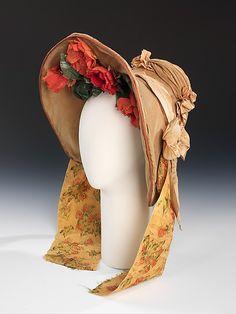 bonnet 1837. Coton et soie, fleurs artificielles.
