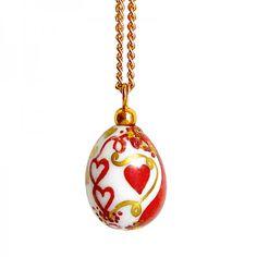 "Teardrop Porcelain Necklace in Red and Gold - ""Love Collection"" #necklace #handmade #handpainted #love #porcelain #limoges #madeinfrance #saintvalentin #cadeau #paris #france"