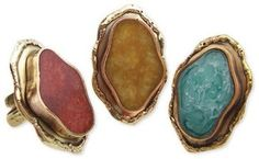 ShopStyle: Z Designs Metal Agate Ring
