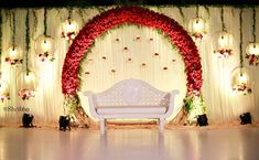 A red floral arch for an outdoor wedding! shribha shribhaweddings stagedecor chennaievents chennaiweddings weddinggram… is part of Indian wedding decorations receptions - Wedding Stage Decorations, Reception Stage Decor, Wedding Backdrop Design, Desi Wedding Decor, Wedding Stage Design, Wedding Reception Backdrop, Engagement Decorations, Marriage Decoration, Reception Ideas