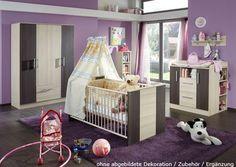 Babyzimmer 3-tlg. in Esche-Nachbildung /Grau-Braun, Kleiderschrank B: ca. 131 cm, Kinderbett ca. 70 x 140 cm, Wickelkommode B: ca. 89 cm