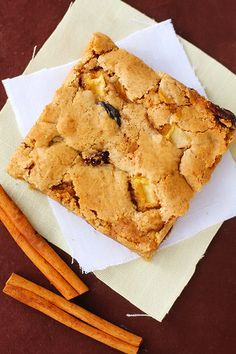Apple Cinnamon Raisin Bars:  Looking at the recipe beforehand, I was expecting good.  These were great!!! They are are everything a sweet, fruity, cinnamony, chewy bar should be.