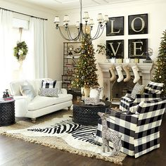 These Living Rooms Are Total Decor Goals. Most Breathtaking Christmas Living Room Decorating Ideas and Inspirations All About Christmas. living room decor apartment Read more info by clicking the link on the image. Decor, Christmas Decorations For The Home, Home Living Room, Farm House Living Room, Farmhouse Decor, White Decor, Christmas Living Rooms, Black And White Decor, White Christmas Decor