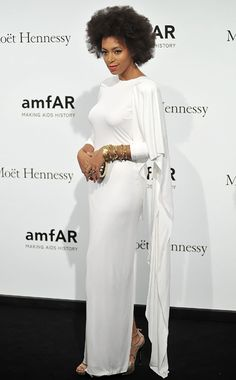 Vogue's Ten Best Dressed!  The fabulously gorgeous Solange Knowles wearing Rubin Singer dress and Jimmy Choo shoes, at amfAR Milano 2012 gala, Milan, September 22, 2012