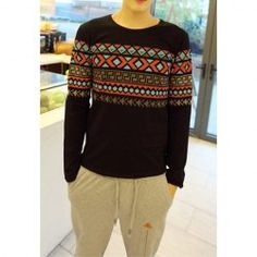$11.70 Fashion Style Scoop Neck Geometric Print Long Sleeves Polyester T-Shirt For Men