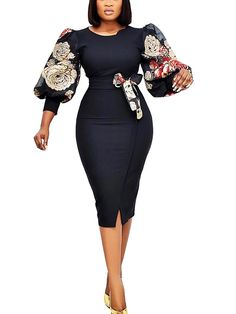 Latest African Fashion Dresses, African Print Dresses, African Dresses For Women, African Outfits, Classy Work Outfits, Office Outfits Women, Classy Dress, Women's A Line Dresses, Prom Dresses With Sleeves